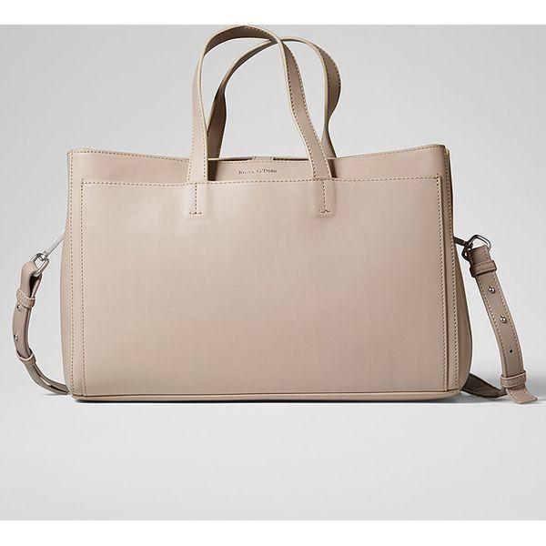 f1c100b354f2e Skórzana torebka w kolorze beżowym - 35 x 25 x 12 cm - Brązowe torby ...