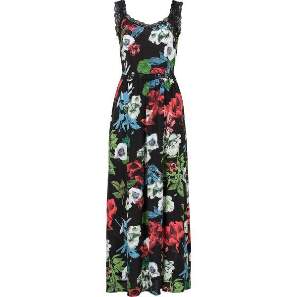 fe9840088 Długa sukienka z koronką bonprix czarny z nadrukiem - Czarne ...