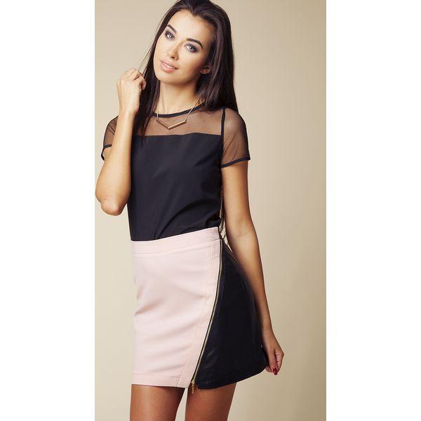 adc6fbaa570691 Mini Spódnica z Eko-skóry z Asymetrycznym Suwakiem - Różowy&czarny ...