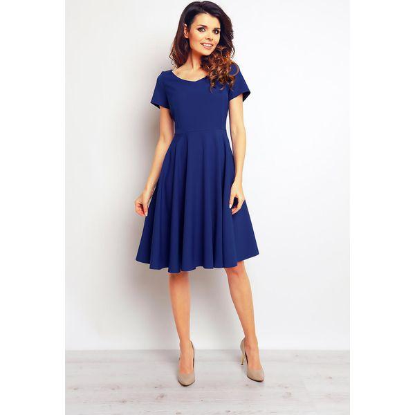 ed6e42084c Koktajlowa Niebieska Elegancka Rozkloszowana Sukienka - Niebieskie ...