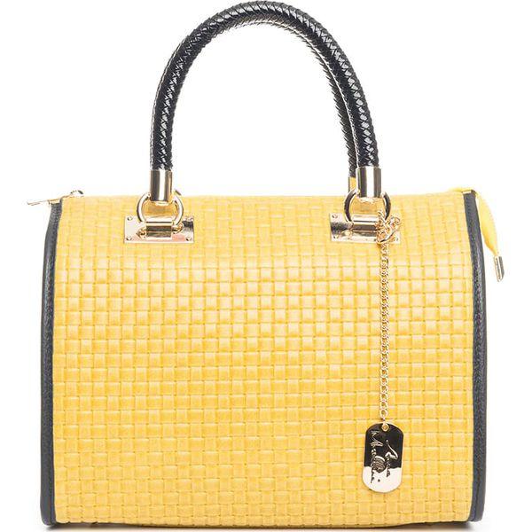 73c76074efdb1 Skórzana torebka w kolorze żółtym - 30 x 26 x 17 cm - Żółte torby na ...