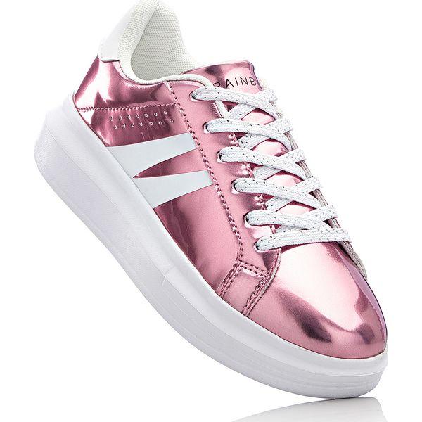 Sneakersy na podeszwie platformie bonprix różowy metaliczny