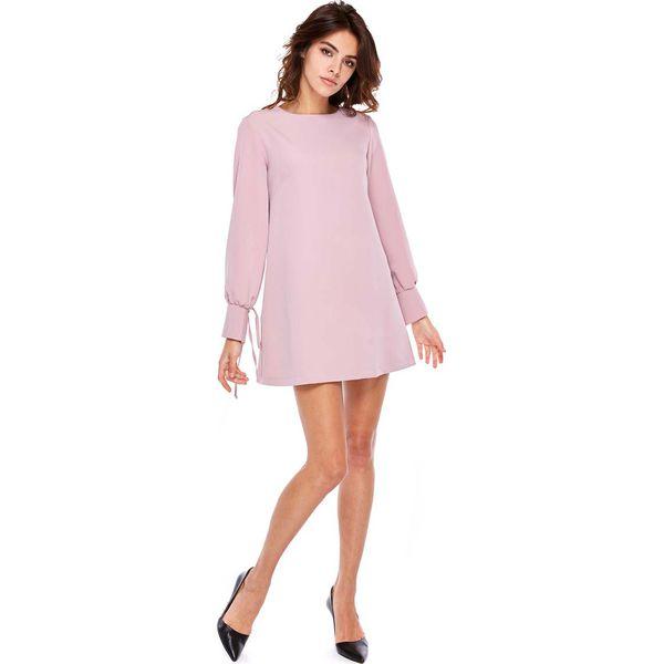 32c3603693 Różowa Wizytowa Sukienka Trapezowa z Wiązaniem na Rękawach ...