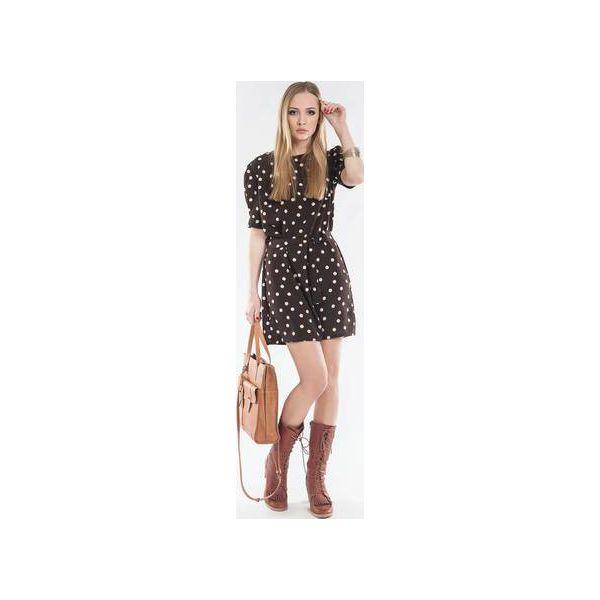 ca06e6dbf1 Sukienka tunika w groszki z paskiem SL2143 - Tuniki marki Soleil. Za ...