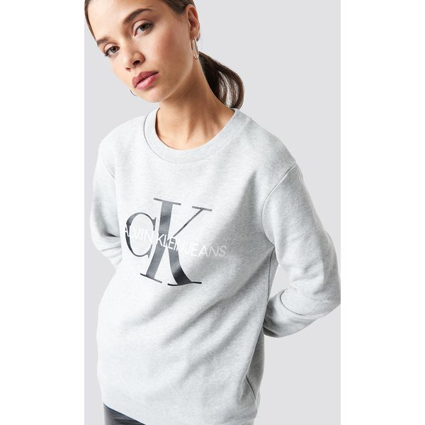 82e55a42d762b Calvin Klein Bluza Core Monogram Logo - Grey - Bluzy sportowe marki ...