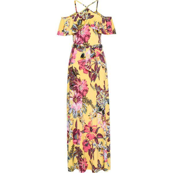 f24c8f8677 Długa sukienka z falbaną bonprix żółty w kwiaty - Żółte sukienki ...