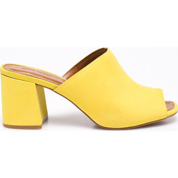 d197267396175 Gino Rossi - Klapki - Żółte klapki marki Gino Rossi, z materiału, na ...