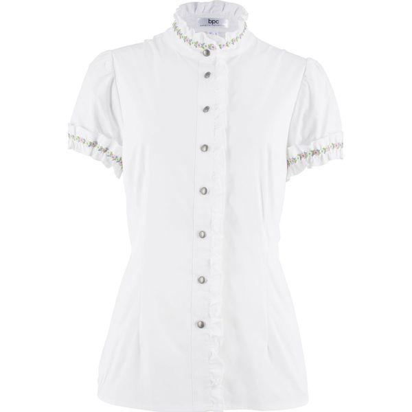 3043b81536e387 Bluzka z falbankami bonprix biały - Bluzki marki bonprix. Za 79.99 ...