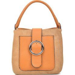 85d84e42f1583 Skórzana torebka w kolorze koniaku - 22 x 21 x 12 cm. Brązowe torby na