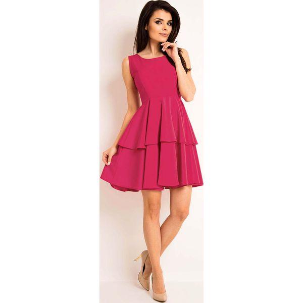fdc16dc67c Różowa Elegancka Rozkloszowana Sukienka z Baskinką - Czerwone ...