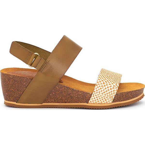 93b39694efad65 Skórzane sandały w kolorze kremowo-jasnobrązowym - Sandały marki Mia ...