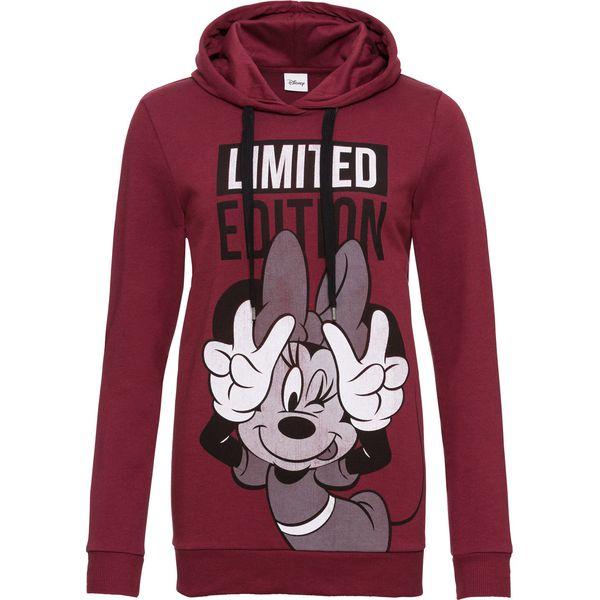 Bluza z kapturem i nadrukiem Myszki Minnie bonprix czerwony