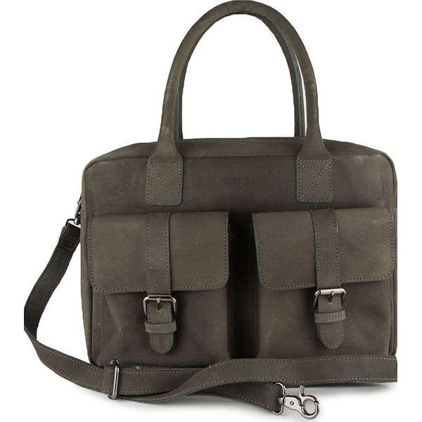57c211a973036 Skórzana torebka w kolorze szarym - 37 x 26 x 13 cm - Szare torby na ...