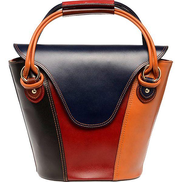 a2592d1e1d647 Skórzana torebka z kolorowym wzorem - 30 x 35 x 13 cm - Brązowe ...