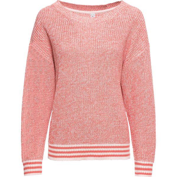 7c3c8288 Sweter ze ściągaczem w paski bonprix pastelowy jasnoróżowy - dymny koralowy  melanż