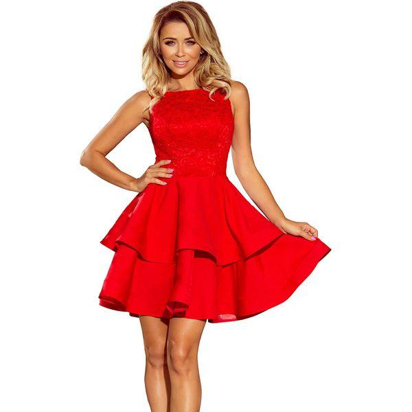 2eb664d1 Czerwona Wyjściowa Podwójnie Rozkloszowana Sukienka z Koronką