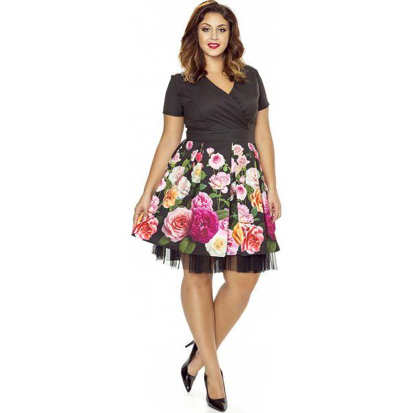 14022337 Kopertowa Sukienka z Szerokim Dołem w Kwiaty PLUS SIZE