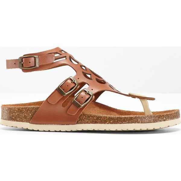 2bde0e77 Wygodne sandały skórzane bonprix koniakowy - Sandały bonprix. Za ...