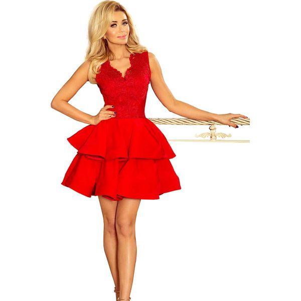 75ce5eb3056731 Czerwona Rozkloszowana Imprezowa Sukienka z Koronką - Sukienki Molly ...
