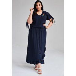 9d5cb32be7 Granatowa Sukienka Laura MAXI duże rozmiary OVERSIZE PLUS SIZE WIOSNA.  Sukienki marki Moda Size Plus