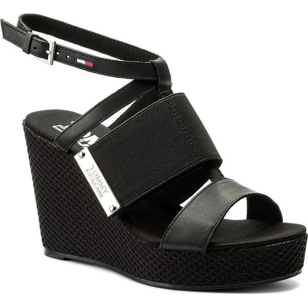 f9d4245418654 Sandały TOMMY JEANS - Material Mix Wedge Sandal EN0EN00048 Black 990 ...