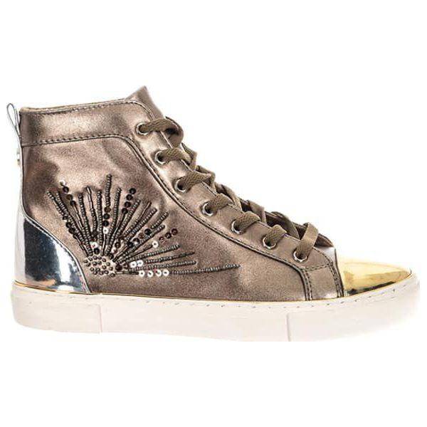 94f72ab0c6621 Sneakersy w kolorze brązowo-złotym - Brązowe trampki marki Guess, z ...