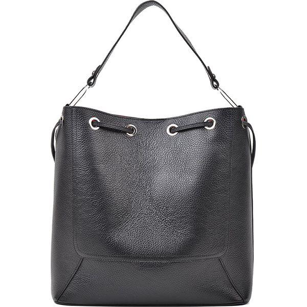 04cab999afca3 Skórzana torebka w kolorze czarnym - 32 x 35 x 13 cm - Czarne ...
