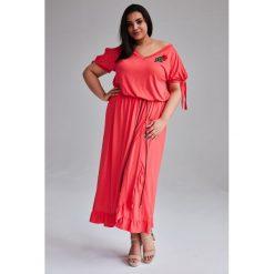 5f00527576 Koralowa Sukienka Laura MAXI duże rozmiary OVERSIZE PLUS SIZE WIOSNA.  Sukienki marki Moda Size Plus