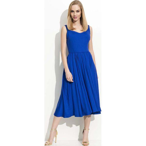09b14fb5 Chabrowa Sukienka Midi na Ramiączkach z Szerokim Dołem