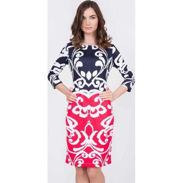 2539fd29d7 Wzorzysta sukienka midi z rękawem 3 4 QUIOSQUE - Białe sukienki ...