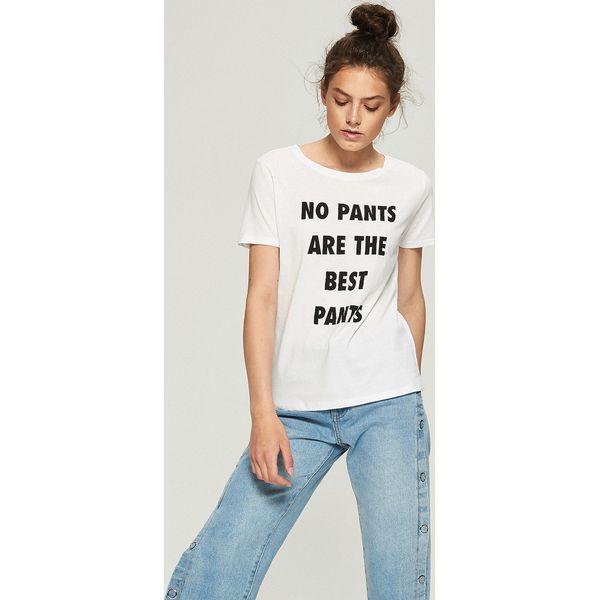 c8aa6c3c28 Luźny t-shirt z nadrukiem - Biały - Białe t-shirty marki Sinsay