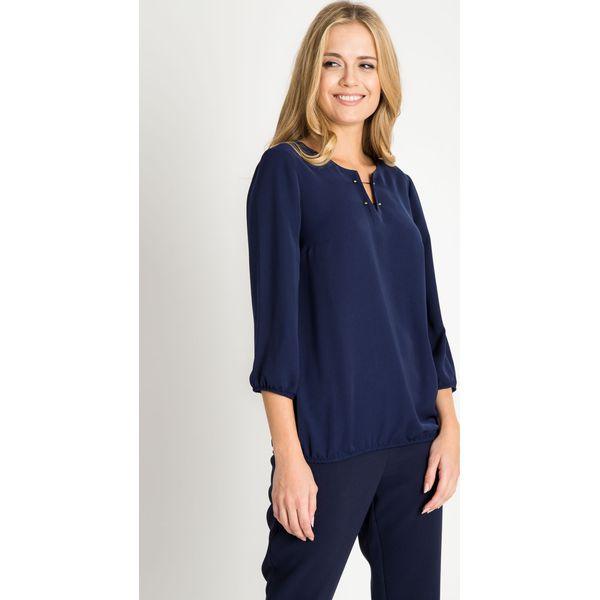 2391b80a7532bd Granatowa bluzka z ozdobnymi igłami QUIOSQUE - Szare bluzki marki ...