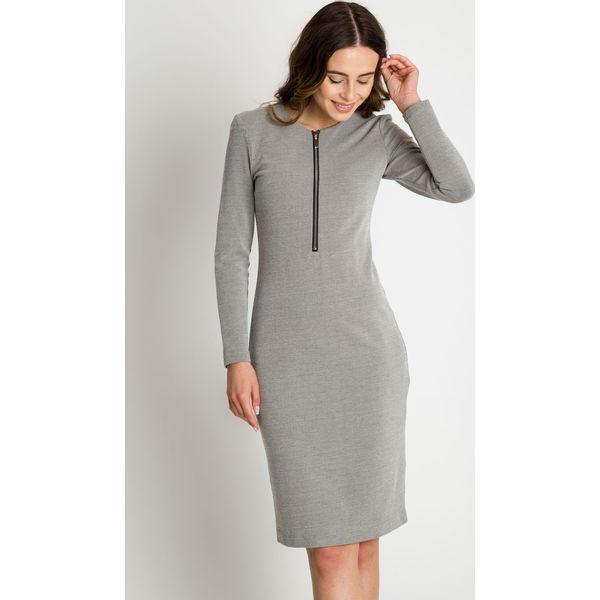 af8bb6e79b Dzianinowa sukienka z długim rękawem BIALCON - Szare sukienki marki ...