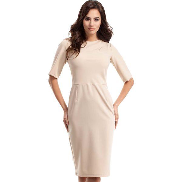 44b7715f5a Beżowa Sukienka Elegancka Ołówkowa z Ozdobnym Marszczeniem - Brązowe ...