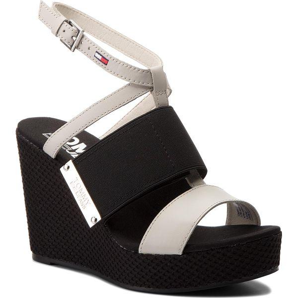 87c019a7e5424 Sandały TOMMY JEANS - Material Mix Wedge Sandal EN0EN00048 Off White ...