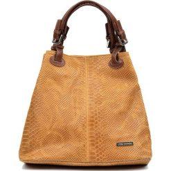 bccb1948dfbfd Skórzana torebka w kolorze brązowym - 30 x 37 x 16 cm. Brązowe torebki  klasyczne