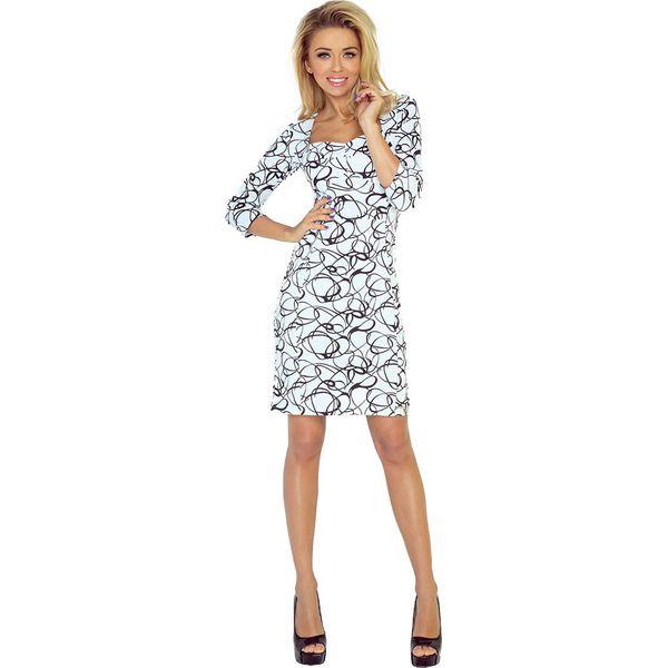 3480f2a261 Biała Sukienka Ołówkowa z Dekoltem w Czarny Wzór - Białe sukienki ...