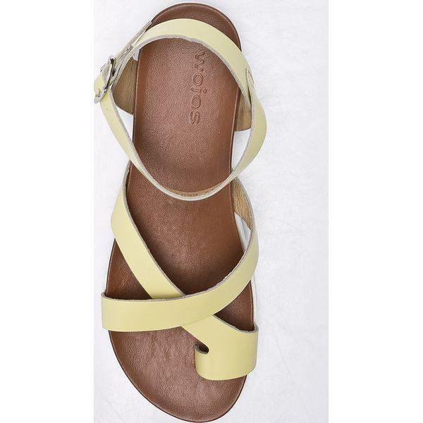 059c08f5 Wojas - Sandały - Żółte sandały Wojas, z materiału, na szpilce, na ...