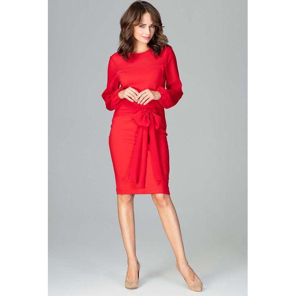 3ba6e5e9db Czerwona Kobieca Wizytowa Sukienka z Prześwitującymi Rękawami ...