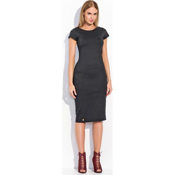 b47c7f6298 Czarna Dopasowana Midi Sukienka z Krótkim Rękawem - Czarne sukienki ...