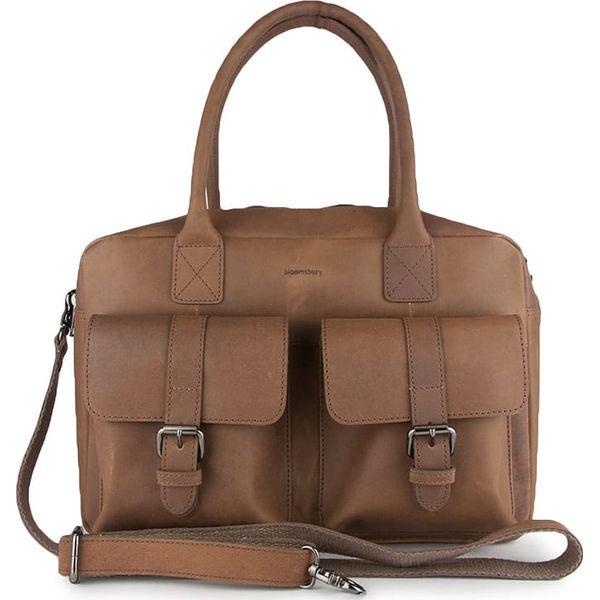 4f59839d2f0a7 Skórzana torebka w kolorze szarobrązowym - 37 x 26 x 13 cm - Brązowe ...