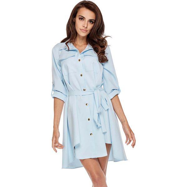 98211533 Niebieska Koszulowa Sukienka w Militarnym Stylu