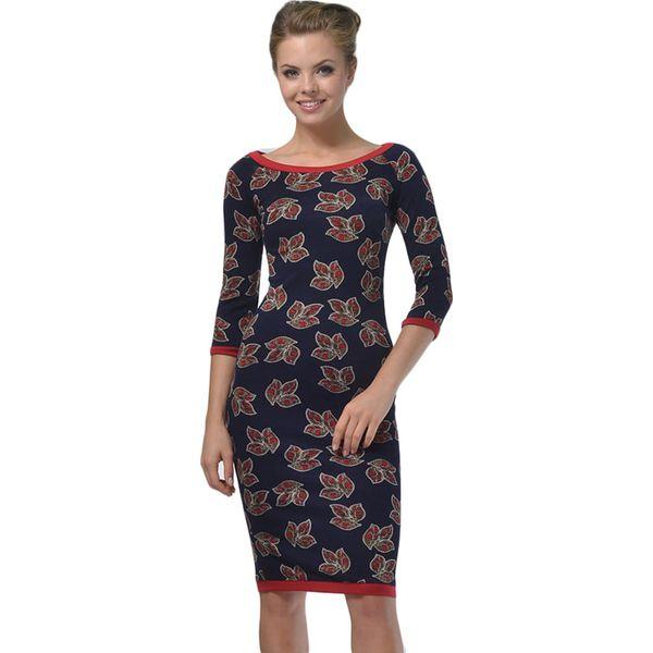 0c8d870d61 Sukienka w kolorze granatowym ze wzorem - Niebieskie sukienki marki ...