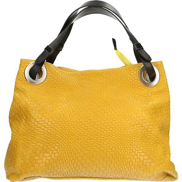 59cc74d79bab1 Skórzana torebka w kolorze żółtym - 38 x 28 x 10 cm - Żółte torby na ...