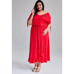 a6b098b146 Czerwona Sukienka Laura MAXI duże rozmiary OVERSIZE PLUS SIZE WIOSNA.  Sukienki marki Moda Size Plus